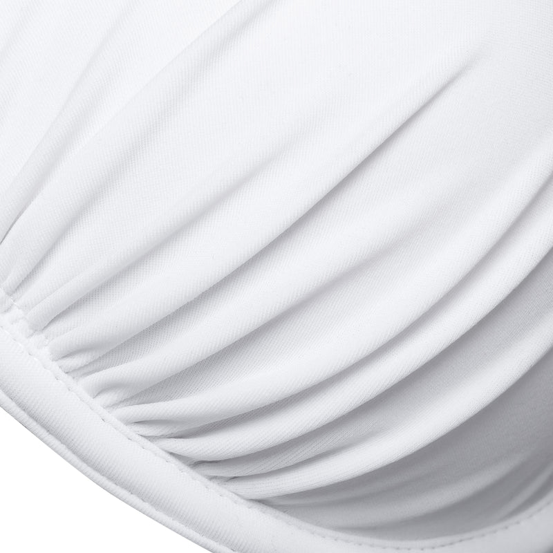 detail of a push-up bikini top in white
