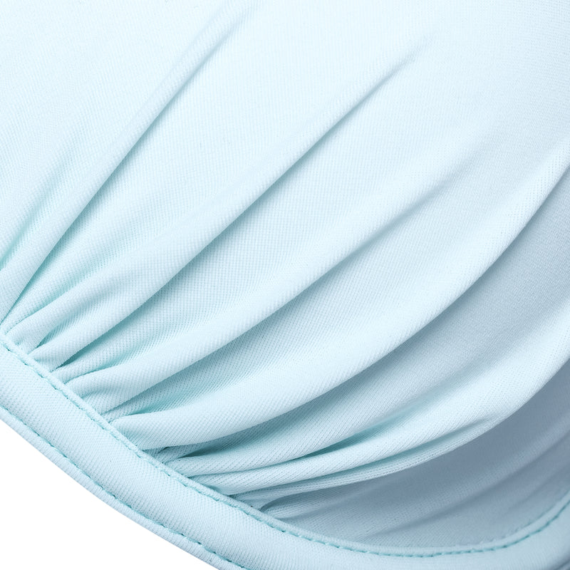 detail of a push-up bikini top in pastel blue