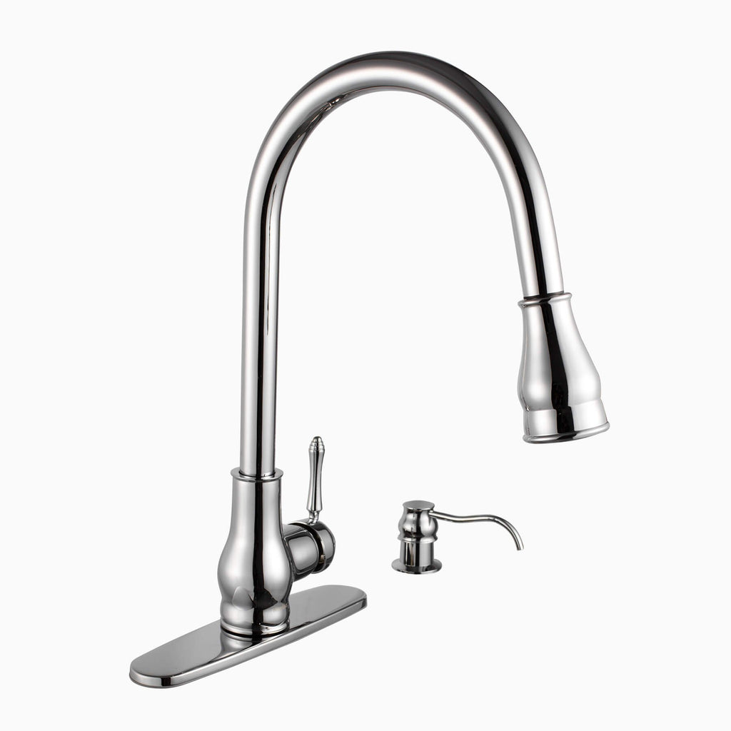 Brixton Single Hole Kitchen Faucet With Pull Out Spray And Soap Dispenser | Kitchen  Faucets | Maykke