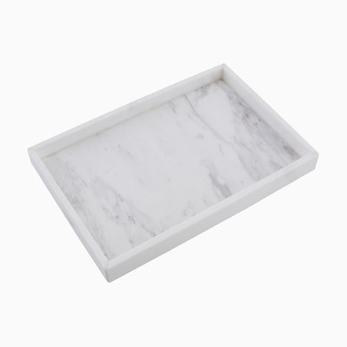 Brax Rectangle Display Tray, White Marble