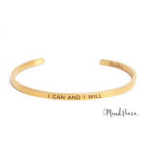 Laad afbeelding in Gallery viewer, Gouden bangle quote armband met de tekst I can and I will