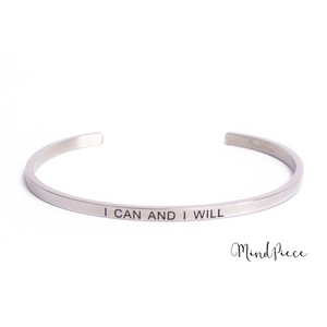 Zilveren bangle quote armband met de tekst I can and I will