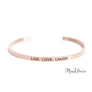 Rosé gouden bangle quote armband met de tekst Live, Love, Laugh