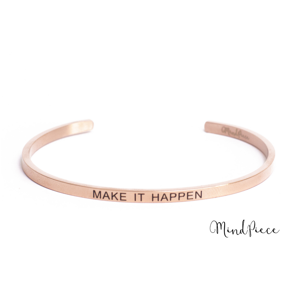 Rosé gouden bangle quote armband met tekst Make it Happen