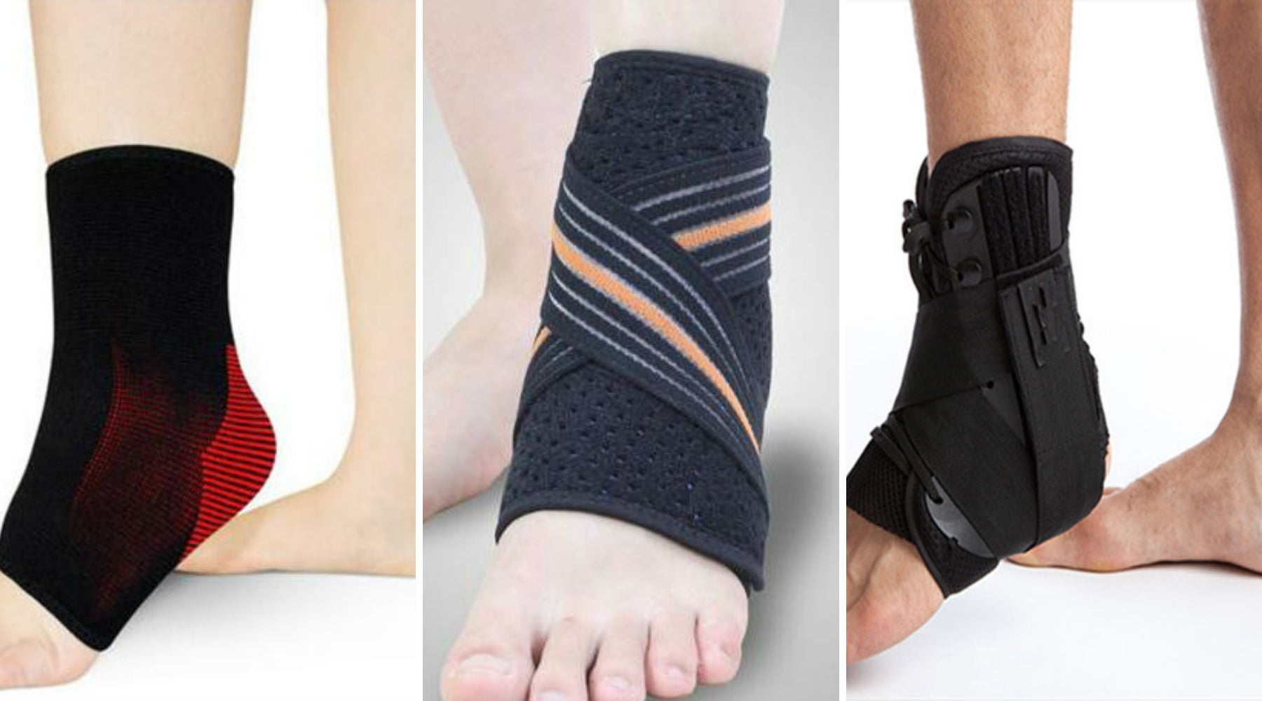 Essential Wellness three different types of ankle supports
