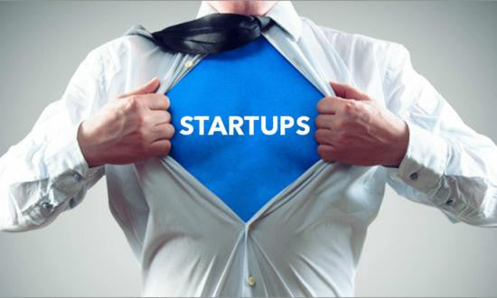 Superman image with text 'Startups' |Xune Solutions Start ups Reach more customers online