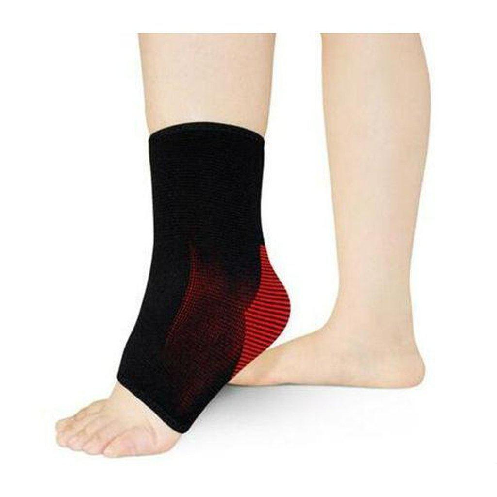 Ankle Support, Breathable Compression Sleeve - Black & Red, Unisex