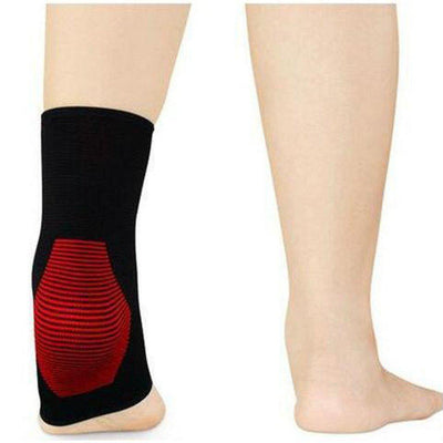 Ankle Support, Breathable Compression Sleeve - Black & Red, Unisex-Orthotics, Braces & Sleeves-Essential Wellness