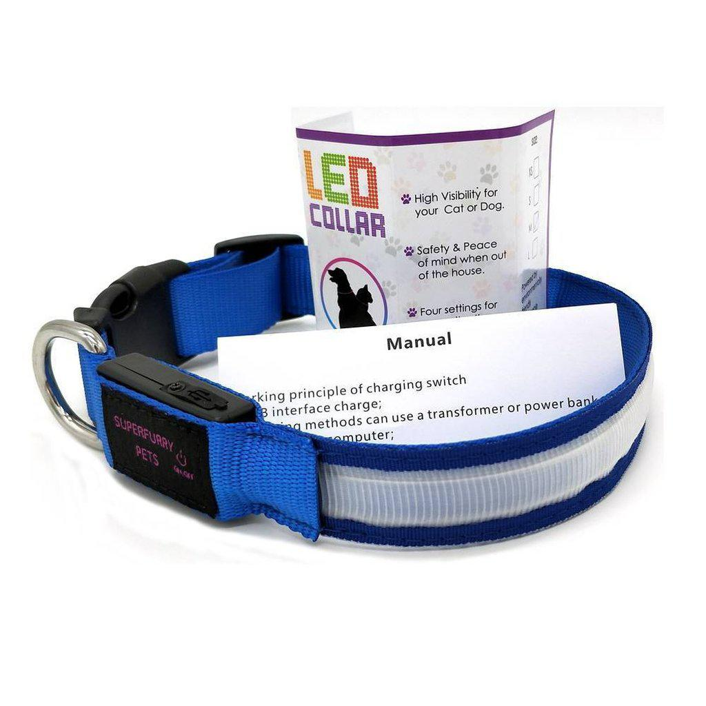 LED Rechargable Dog Collar - keep your dog safe & visible at night-Superfurry Pets Supplies-S-Pink-Essential Wellness-5060536630138
