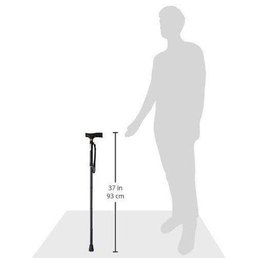 Folding Walking Stick In Black, Fully Adjustable - Portable & Lightweight - Non Slip Foot