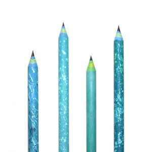 Turquoise Splash - Hand-Painted Pencils