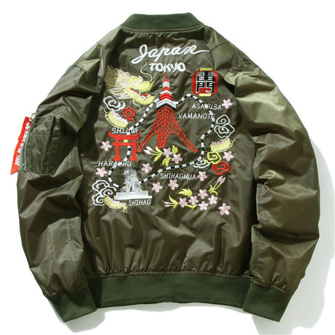 Dragon Tower Embroidered  Bomber Jacket