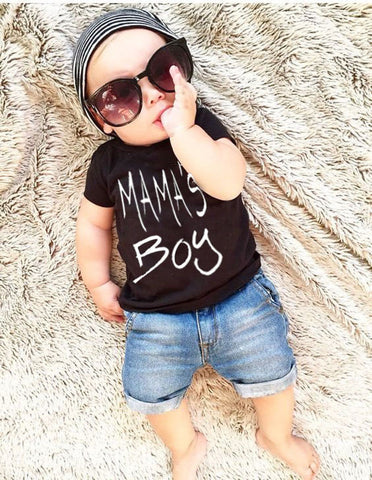 "Two piece tshirt and shorts set. ""Mama's Boy"""