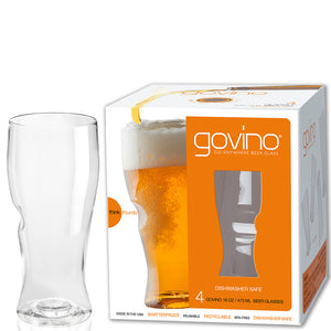 pack of beer glasses and cups that are reusable and dishwasher safe plastic, stylish design of glassware