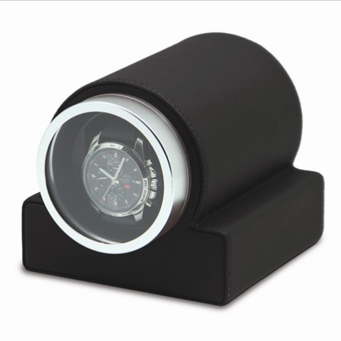 Faux Leather Glass Window Single Watch Winder