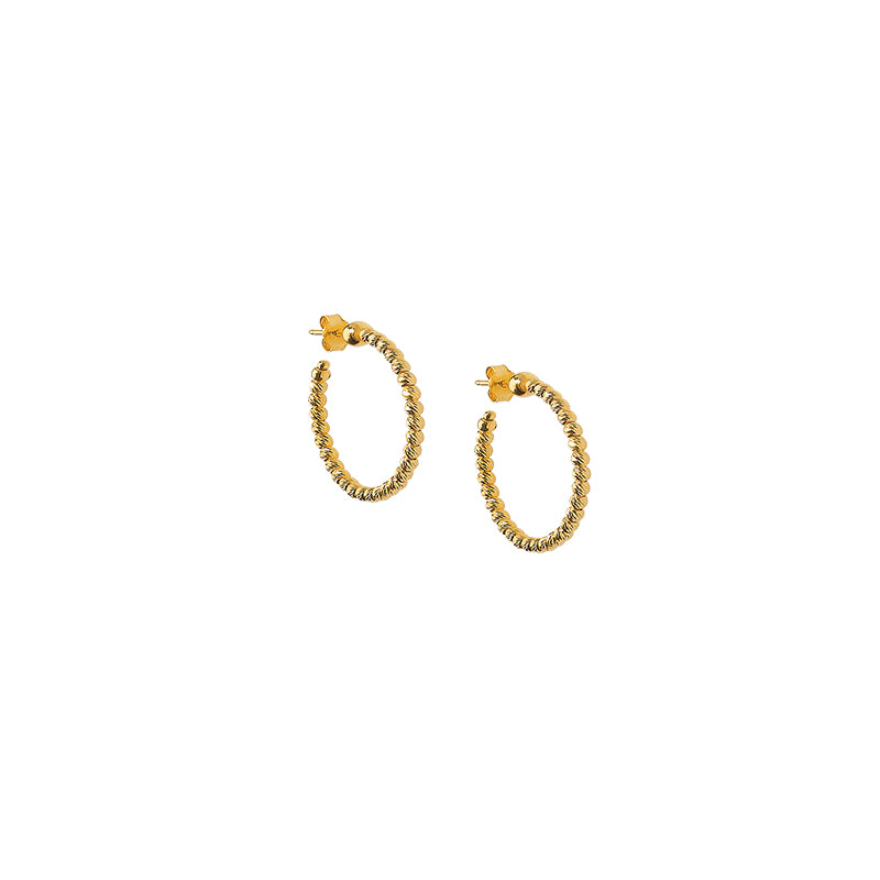 Officina Bernardi Sterling Silver Beaded Gold over Hoop Earring