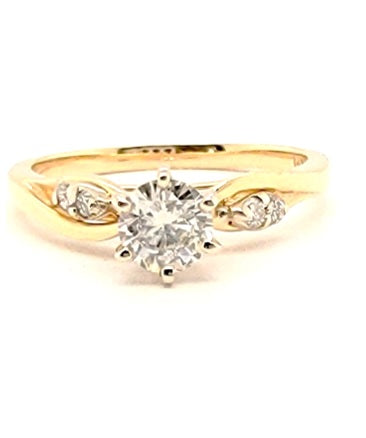 14k Yellow Gold Ctr 0.40 SI1 H, Mounting 0.04 Ct Diamond Ring