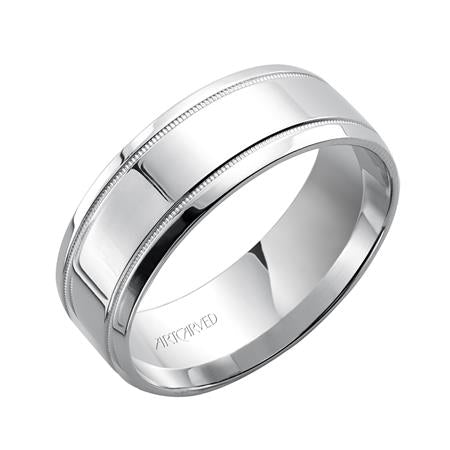 14k White Gold 5.5mm wide Milgrain edge with Highly Polished Finish Band, size 10