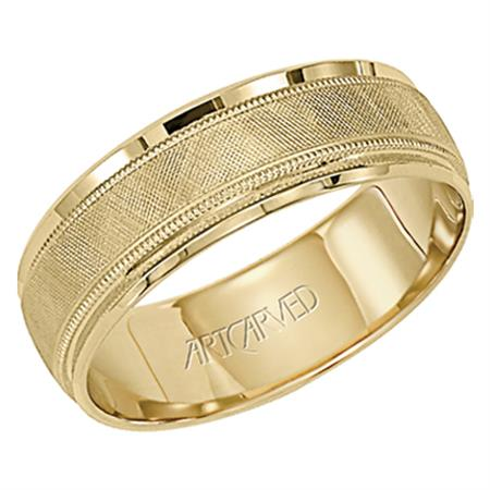 14k Yellow Gold Textured design with Milgrain Border Band, size 10