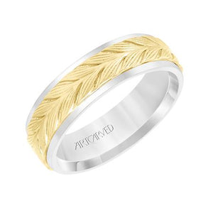 14k Two Tone 6.5mm wide Leaf design Band, size 10