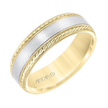 14k Two Tone 6.5mm wide Band, size 10