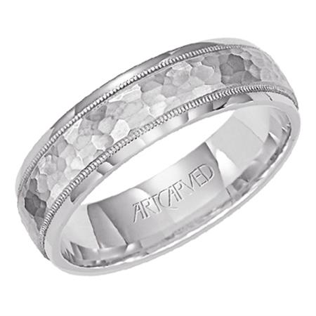 Platinum 6mm wide Carved Band, size 10