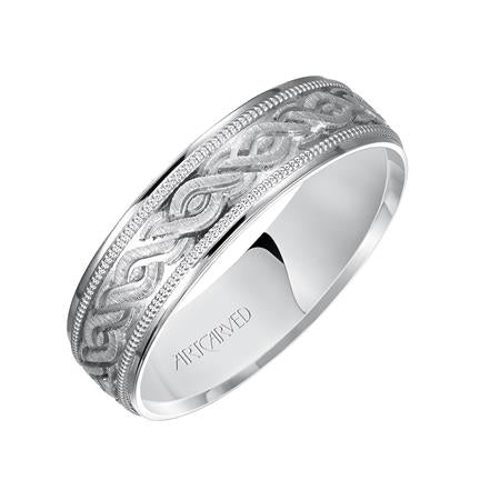 14k White Gold engraved wedding band with milgrain detail and flat edges, size 10