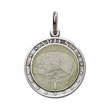 "Load image into Gallery viewer, Sterling Silver Enamel Aries medal with Rim 1"" (24mm-quarter size)"