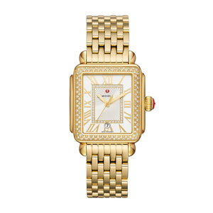 Michele Deco Madison Diamond 18k Plated Gold, Silver White Sunray Diamond Dial