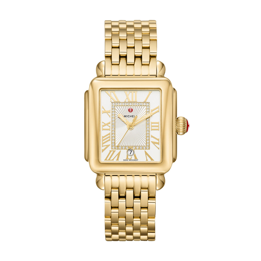Michele Deco Madison 18k Gold Plated, Silver White Sunray Diamond Dial