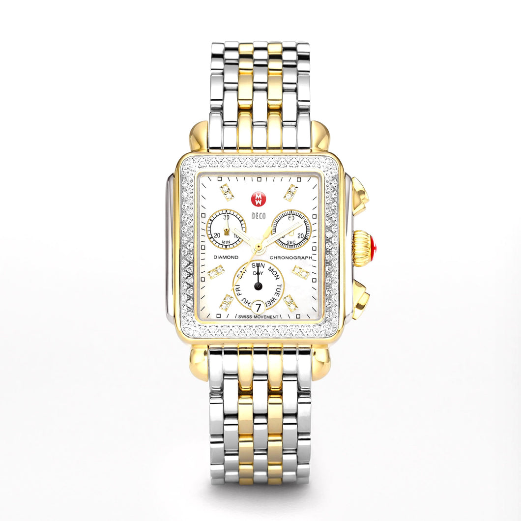 Michele Deco Day Diamond Two Tone, White MOP Diamond Dial