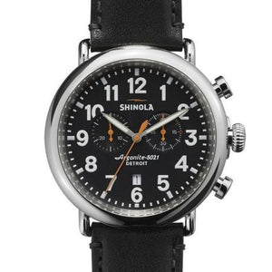 Gts Shinola 47 mm Runwell Chronograph, Black, Black Strap
