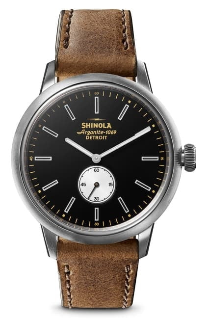 Shinola Bedrock 42mm polished/brushed Stainless Steel, black/white dial, tan leather strap