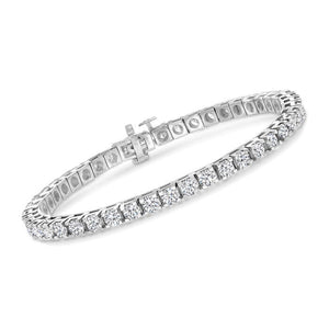 14k White Gold  4.00 Ct Diamond Tennis Bracelet With Safety Clasp