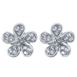14k White Gold 0.21 Carat Diamond Flower Earring