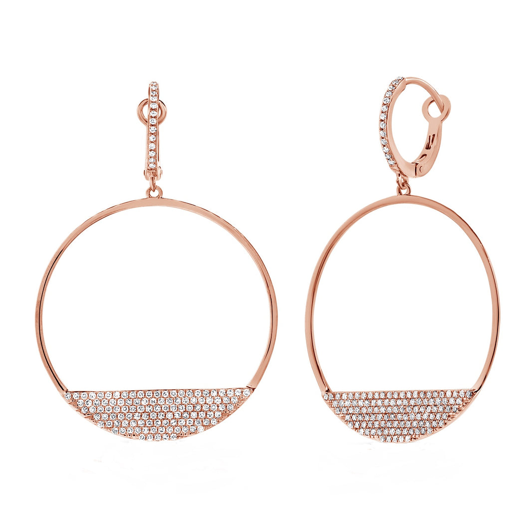 14k Gold 0.72 Carat Open Diamond Circle Earrings. Available in Rose, White or Yellow.