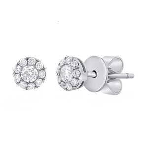 14k White Gold 0.31 Carat Diamond Cluster Stud Earrings.