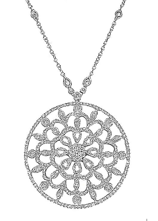 18k White Gold 2.50 Cts Diamond Circular Necklace