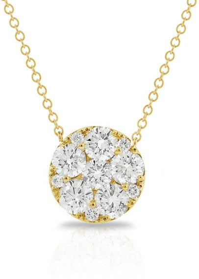 14k Yellow Gold 0.55 Ct Diamond Cluster Necklace