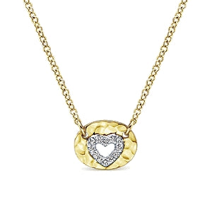 14K Yellow Gold 0.04 Carat diamond Cutout Heart Pendant