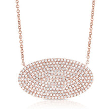 Load image into Gallery viewer, 14k Pave Oval Disc Necklace, 0.76 Ct Diamond available in White, Rose and Yellow gold