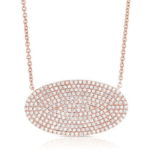 14k Pave Oval Disc Necklace, 0.76 Ct Diamond available in White, Rose and Yellow gold
