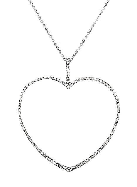 18k White Gold 0.78 Ct Diamond Open Heart Pendant on 18 Inch Chain