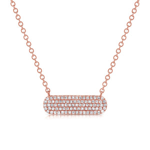 14k Pave Oval Diamond Bar Necklace. Available in White, Rose and Yellow