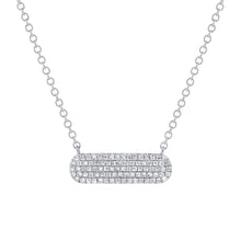 Load image into Gallery viewer, 14k Pave Oval Diamond Bar Necklace. Available in White, Rose and Yellow