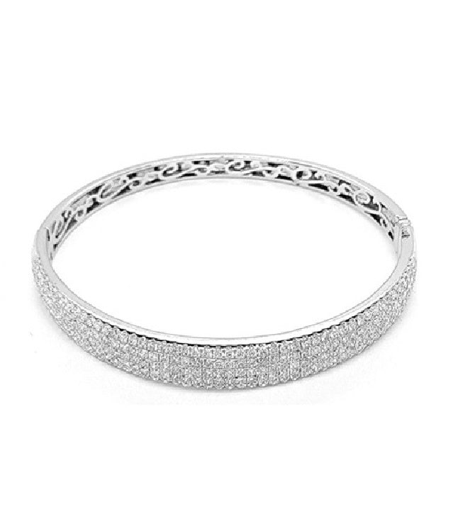 14k White Gold 3.42 Ct Diamond 5 Rows Bangle Bracelet