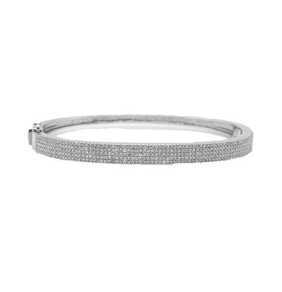 14k White Gold 1.11 ct Diamond 5 Row Bangle Bracelet