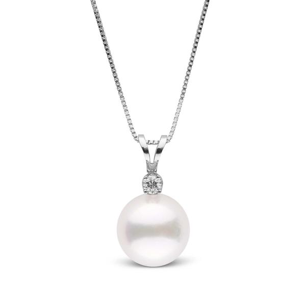 14k White Gold 6mm Culture Pearl, 0.03 Ct Diamond Pendant