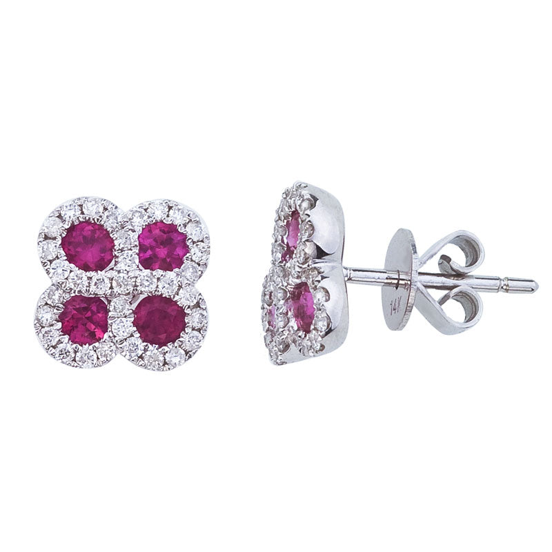 14k White Gold 0.60 Ct Ruby, 0.26 Ct Diamond Earring