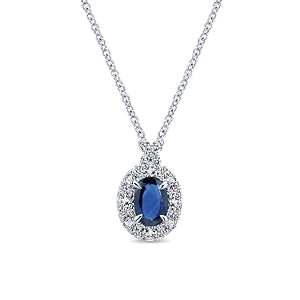 14k White Gold 0.96 Ct Sapphire, 0.44 Ct Diamond Pendant